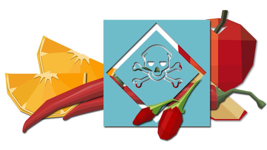 Illustration av giftsymbol, frukt och grönt.