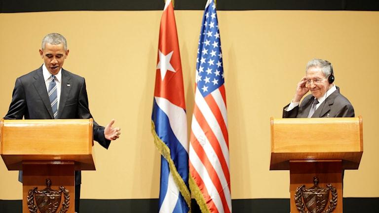 Obama och Castro pratar inför pressen.