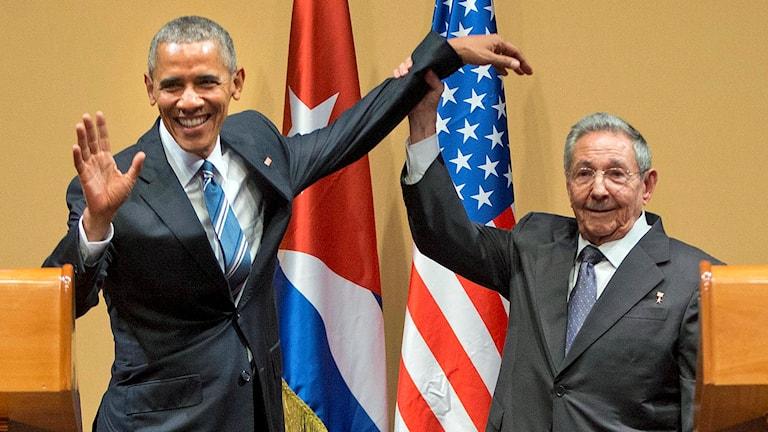 USA:s president Barack Obama och Kubas president Raúl Castro vid en presskonferens i Havanna 21 mars 2016.