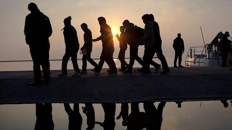 Flyktingar på stranden på Lesbos