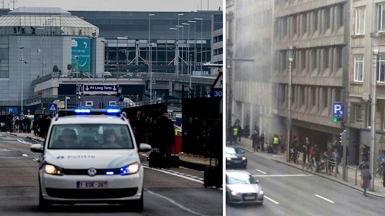 Passagerare evakueras från flygplatsen i Bryssel. Till höger syns röken som stiger från Maalbeek tunnebanestation i Bryssel.
