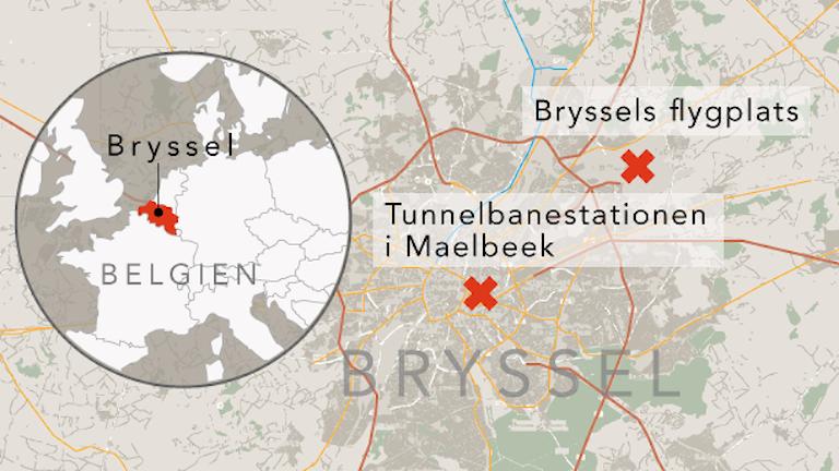 Karta som visar explosionerna i Bryssel.