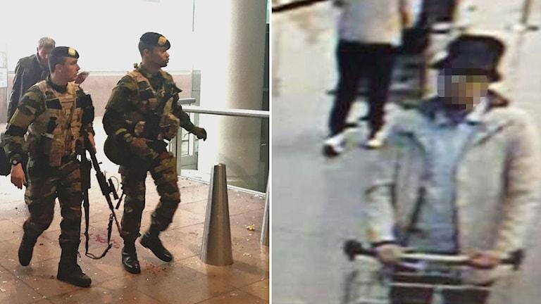 Poliser bryssels flygplats och misstänkt gärningsman