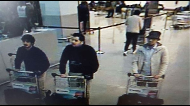 The three men linked to the attack at the Brussels airport. Photo: Belgian Federal Police.