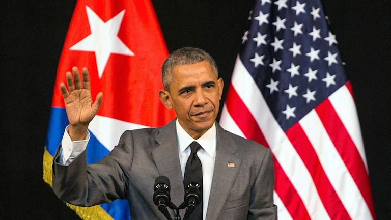 President Barack Obama höll tal på Kuba på tisdagen.