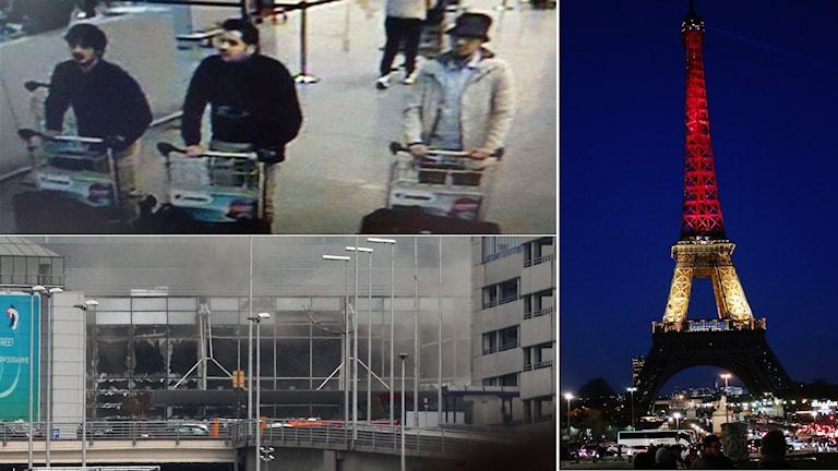 Kollagebild. De tre misstänkta attentatsmännen (ovan vänster) Flygplatsen Zavantem (nedre, vänster) Eiffeltornet till höger.