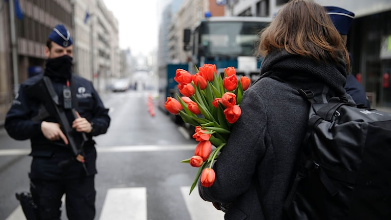 Flowers at a road block in Brussels