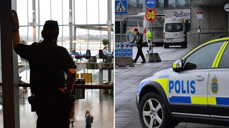 Polisbevakning på Arlanda.