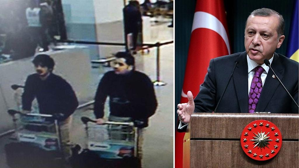 Övervakningsbild av de misstänkta terroristerna och t.h. Turkiets president.