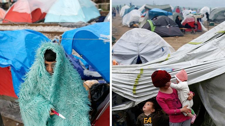 Barn inlindad i grön filt. Tre barn framför grått tält. Regn.