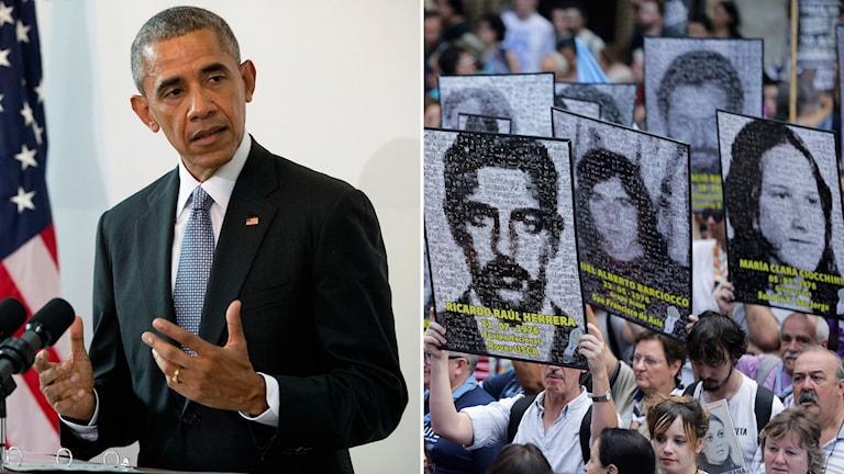 Protester mot Obamas besök i Argentina Foto: Pablo Martinez Monsivais och Victor R. Caivano / AP