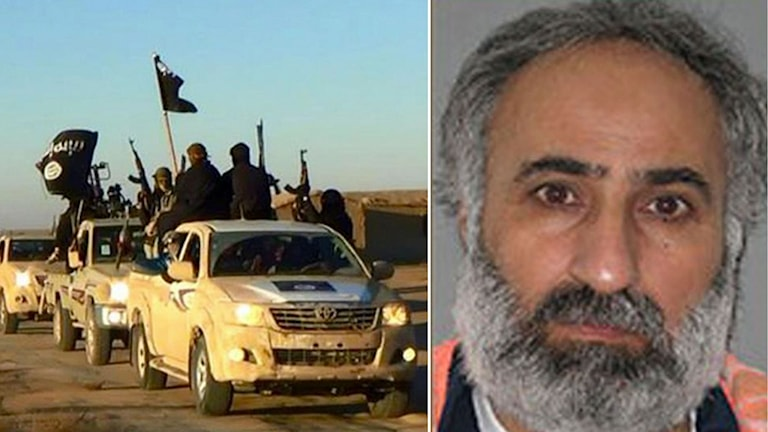 IS-krigare till vänster och Abd ar-Rahman Mustafa al-Qaduli till höger