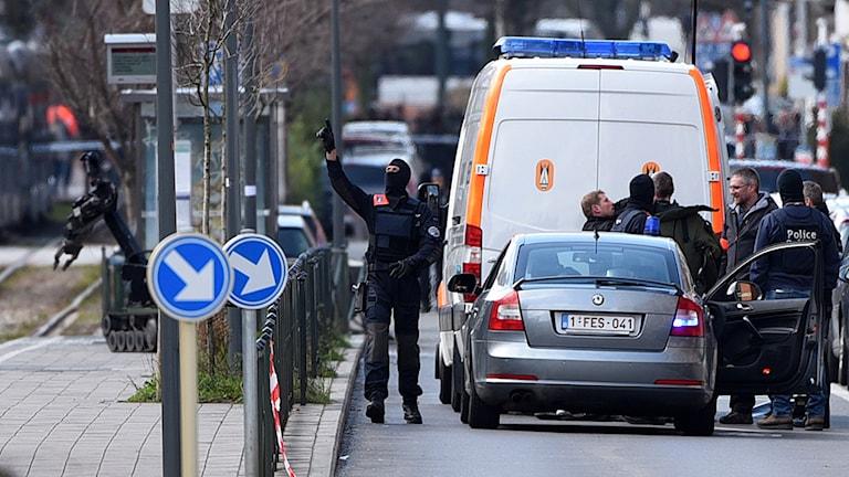 En person greps i den stora polisinsatsen i stadsdelen Schaerbeek. Foto: TT
