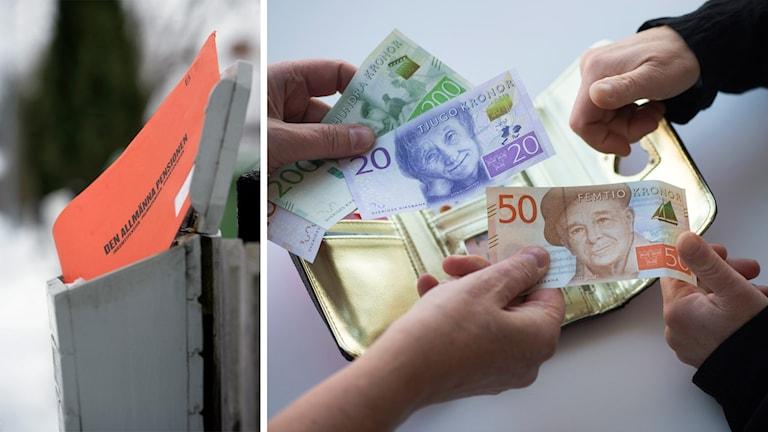 Pensionskuvert och sedlar