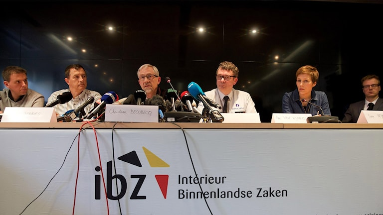 Belgian authorities at Satuday press conference in Brussels, Photo: AFP