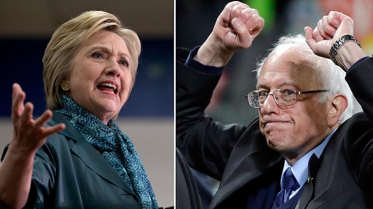 Hillary Clinton till vänster och Bernie Sanders till höger