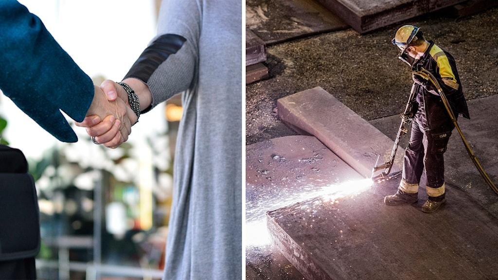 Handslag och industri.