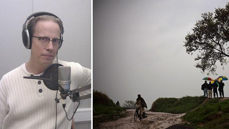Professor Sten Widmalm till vänster. Dagligt liv i Pakistan till höger.
