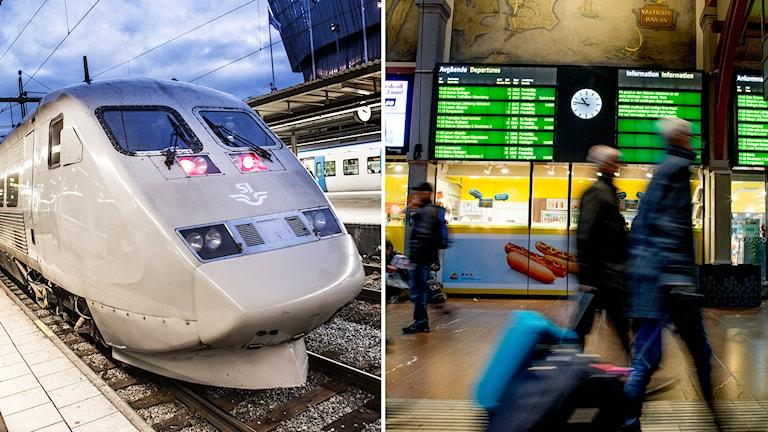 Tåg och resenärer.