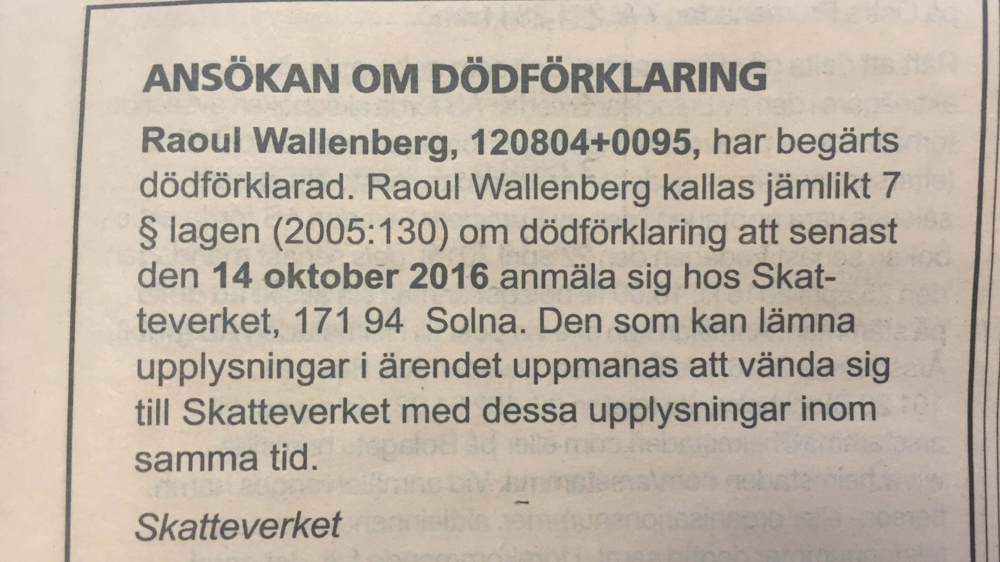 Raoul wallenberg begars dodforklarad