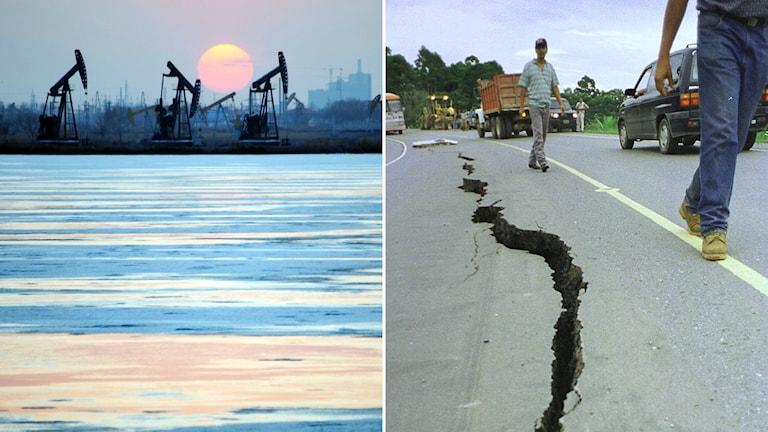 montage oljeriggar och spricka i asfaltsväg