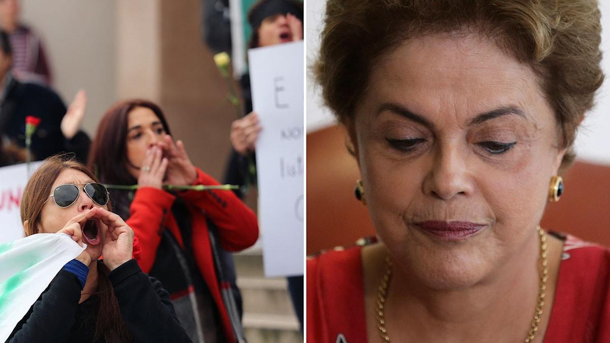 montage buande demonstranter och brasiliens president Dilma Rousseff
