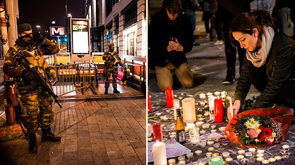 Militär på gatorna och människor som lägger blommor på gatan.