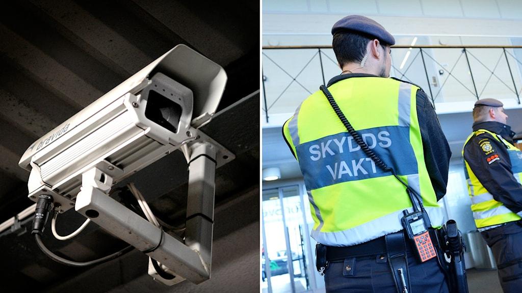 montage övervakningskamera och säkerhetsvakt