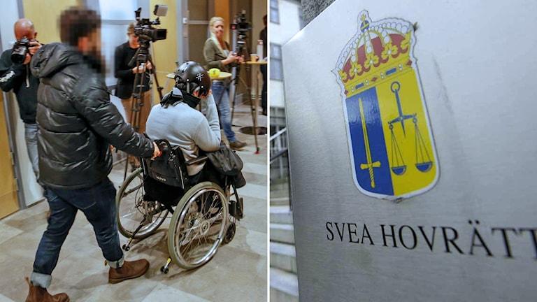 montage två män varav en i rullstol med ansiktena bortvända eller täckta, med skylt svea hovrätt