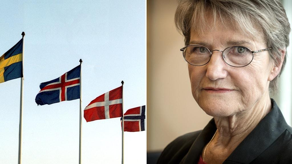 montage, nordens länders flaggor och bild på kvinna i kort blont hår och glasögon