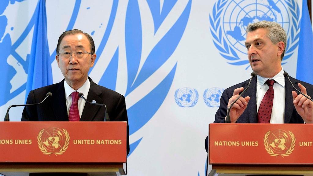 FN-chefen Ban Ki-Moon och chefen för UNHCR Fillipo Grandi.