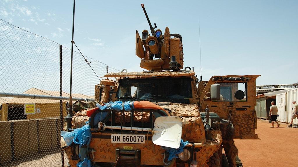 Försvarsmaktens fordon på den svenska basen i Mali. Foto: Fernando Arias/SR