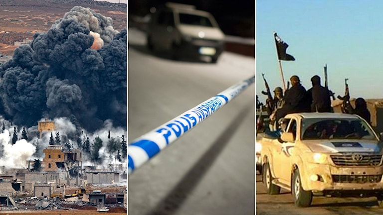 Bomb slår ned i stad i Syrien. Svensk polis har spärrat av en brottsplats. IS-krigare med flaggor åker i en jeep.