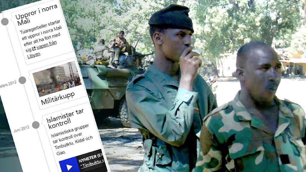Del av tidslinje visas över foto. Malistan och franska soldater. Foto: Maria Sjöqvist/Sverigeos Radio.