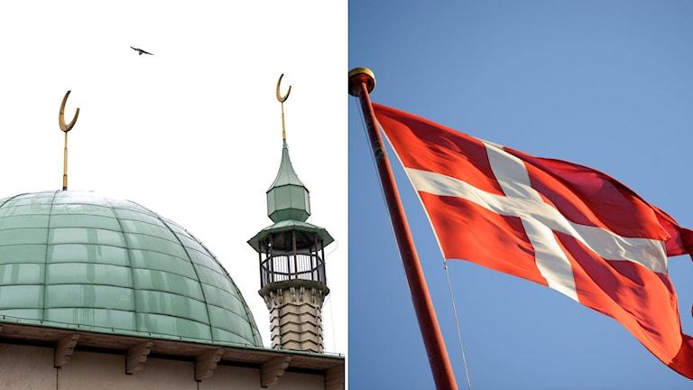 montage moské och danmarks flagga