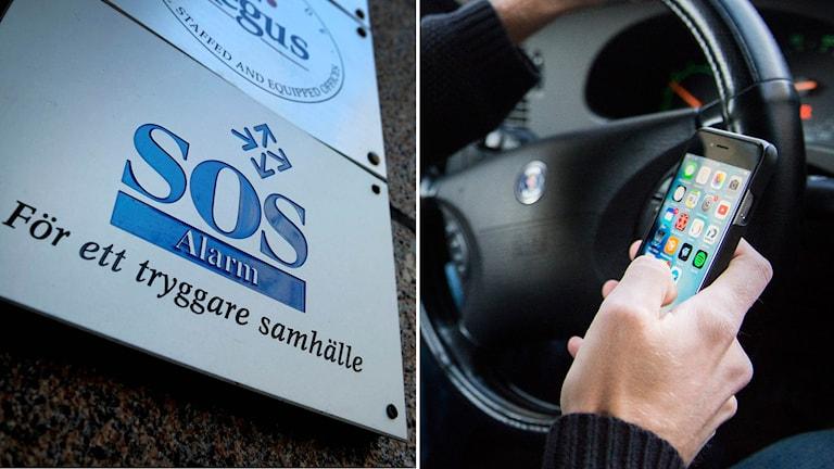 Skylt med SOS Alarms logga och mobiltelefon