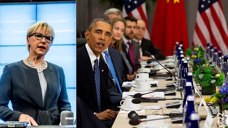 Sveriges utrikesminister Margot Wallström, USA:s president Barack Obama.