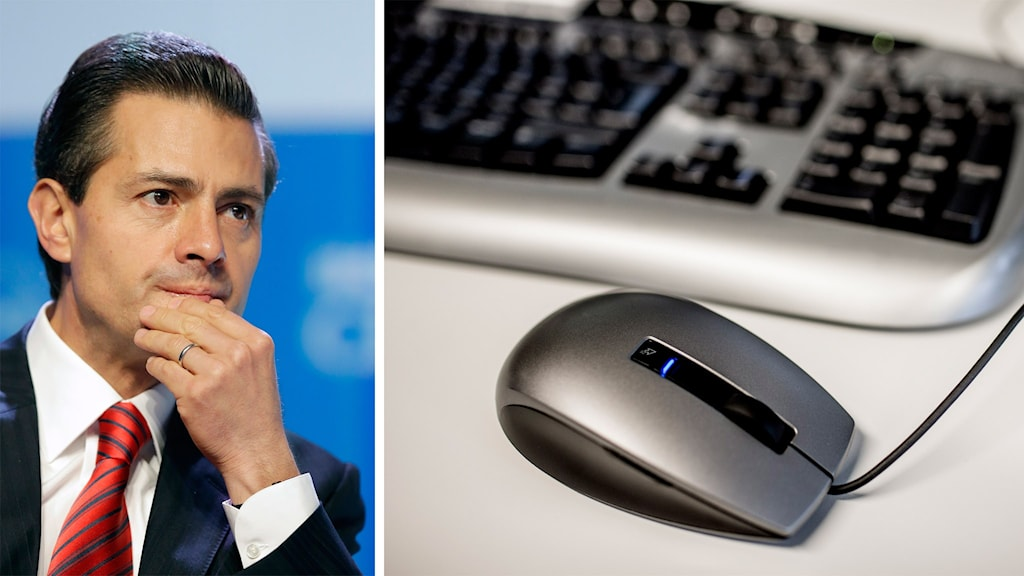 Mexikos president Enrique Peña Nieto och bild på ett tangentbord och en datormus.