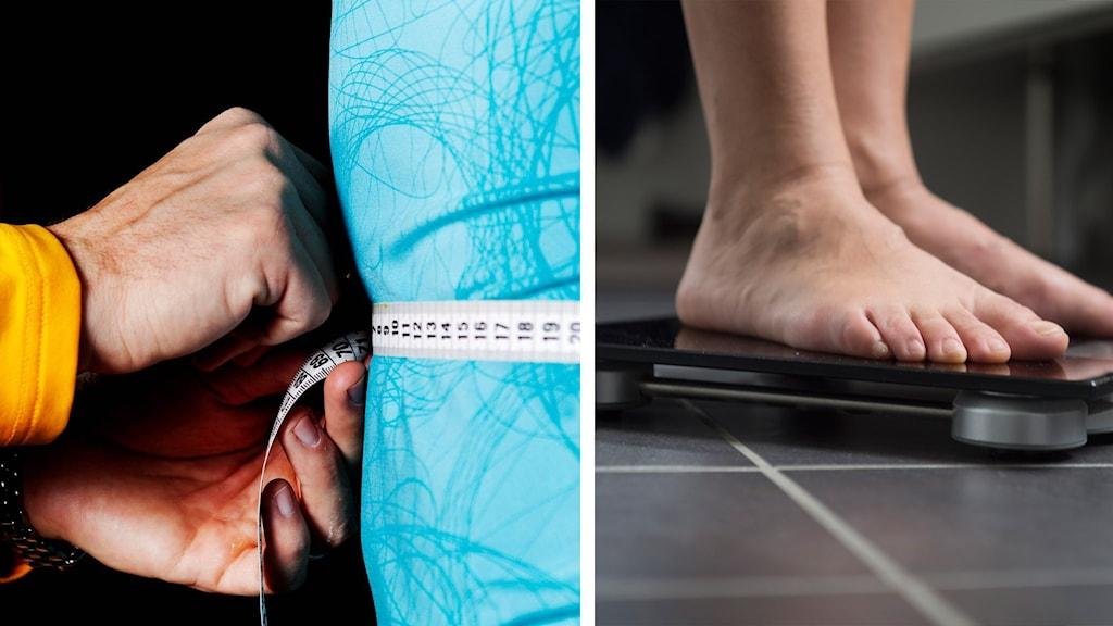 En person mäter en annans midja med måttband. En kvinna väger sig på en badrumsvåg.