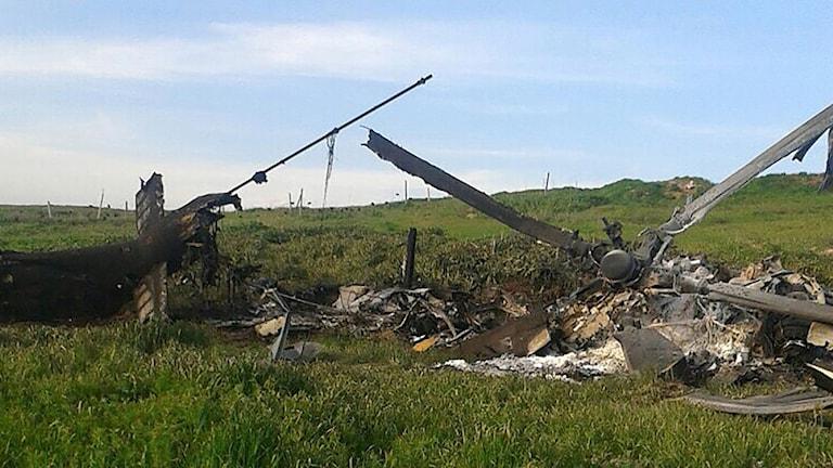 Resterna från en av Azerbadzjans störtade helikoptrar.
