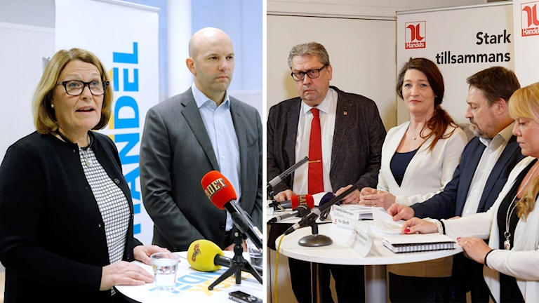 Vd Karin Johansson och förhandlingschef Mattias Dahl Tommy Tillgren, 1:e vice ordförande, Susanna Gideonsson, förbundsordförande, Per Bardh, avtalssekreterare, och Linda Palmetzhofer, 2:e vice ordförande, då Handels håller pressträff i Stockholm på söndagen.