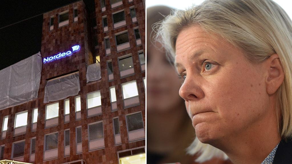 Husfasad med Nordeas logga på, finansminister Magdalena Andersson