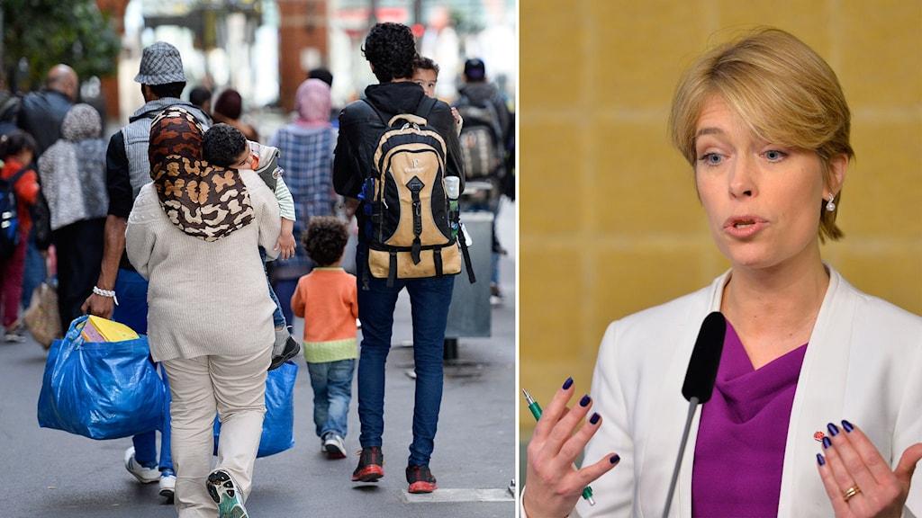 Delad bild: migranter med barn och Annika Strandhäll.