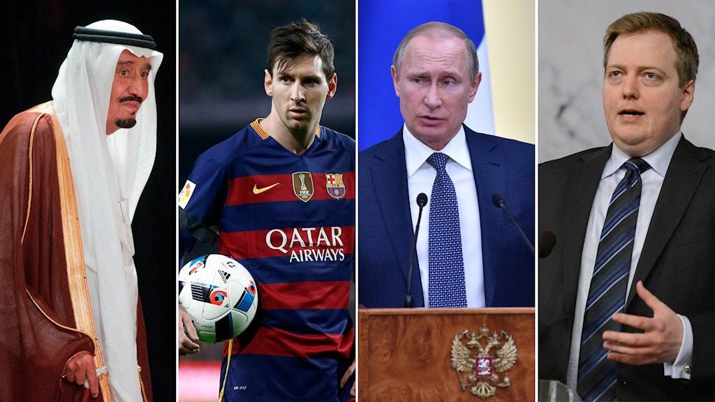 Saudiarabiens kung Salman, Lionel Messi, Rysslands president Vladimir Putin och Islands premiärminister Sigmundur Davíð Gunnlaugsson.