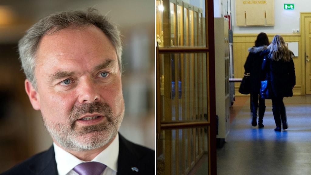 bildsplit jan björklund och skolkorridor
