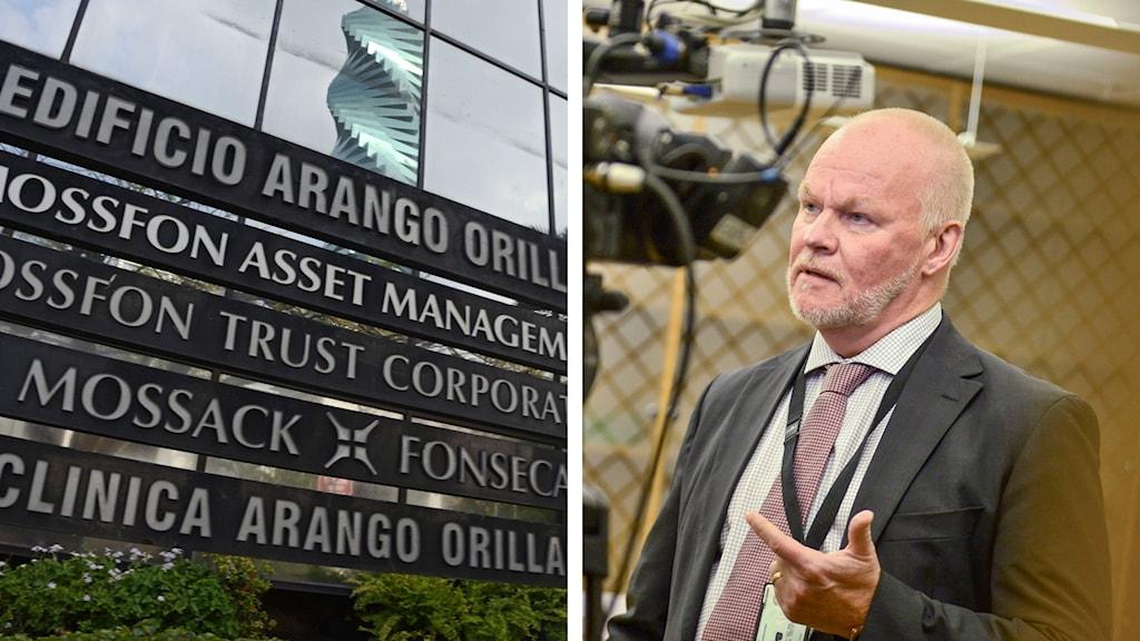 Finansinspektionens Christer Furustedt håller presskonferens med anledning av Panamadokumenten. Foto: TT och AFP