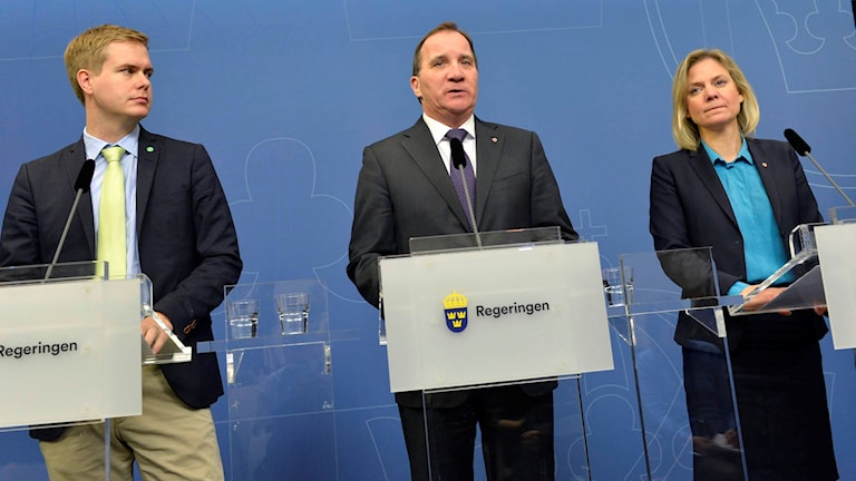 Pressträff på måndagen med utbildningsminister Gustav Fridolin (MP), statsminister Stefan Löfven (S) och finansminister Magdalena Andersson (S) om kommande investeringar.