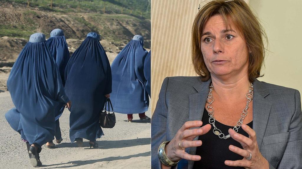 Afhganska kvinnor och biståndsminister Isabella LÖvin.