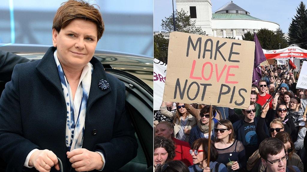 Polens premiärminister Beata Szydlo och en demonstration.
