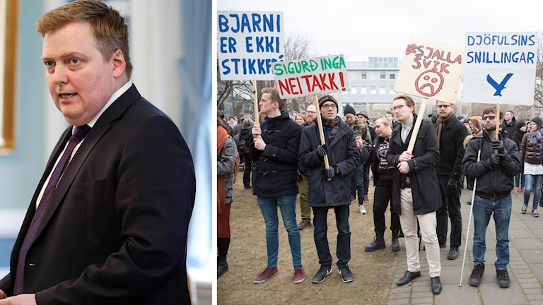 Islands statsminister Sigmundur Davíð Gunnlaugsson och demonstranter.